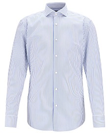 BOSS Men's Jason Slim-Fit Butcher-Striped Poplin Shirt
