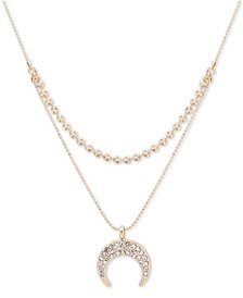 """Gold-Tone Crystal Crescent Two-Row Frontal Necklace, 16"""" + 3"""" extender"""