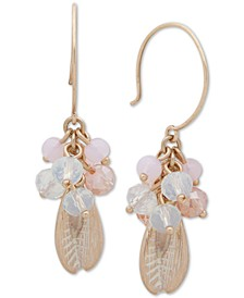 Gold-Tone Clustered Pink Bead Drop Earrings
