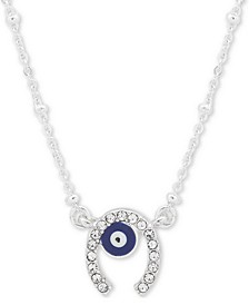 "Silver-Tone Crystal Horseshoe Pendant Necklace, 16"" + 3"" extender"
