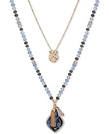 "Gold-Tone Blue Bead Interchangeable 36"" Long Necklace"