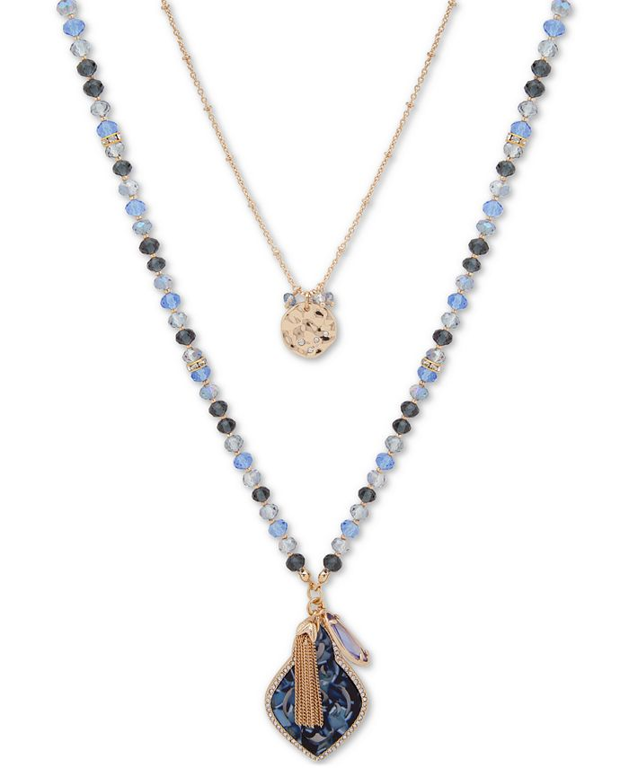"""lonna & lilly - Gold-Tone Blue Bead Interchangeable 36"""" Long Necklace"""