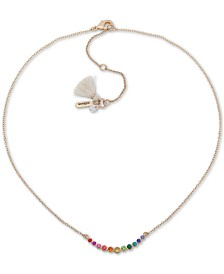 "lonna & lilly Gold-Tone Rainbow Crystal Frontal Necklace, 16"" + 3"" extender"