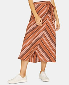 Catching Rays Striped Faux-Wrap Skirt