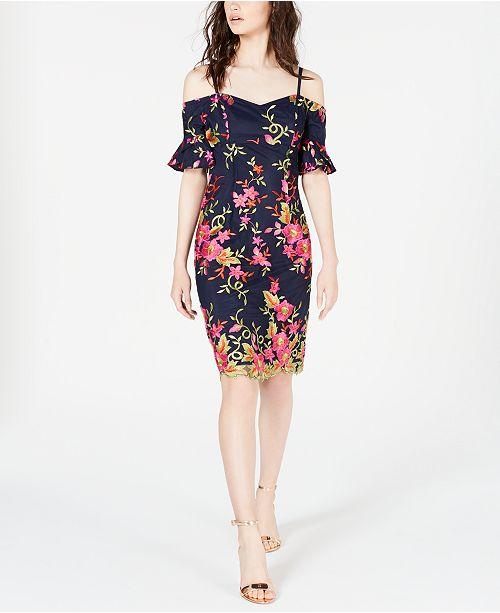 Trina Turk Embroidered Cold-Shoulder Dress