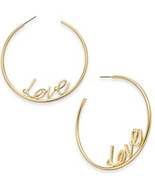 Gold-Tone Love Medium Hoop Earrings , Created for Macy's