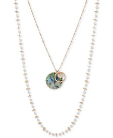 "lonna & lilly Gold-Tone Beaded Two-Row Pendant Necklace, 36"" + 3"" extender"