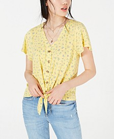 Juniors' Button-Front Tie Top