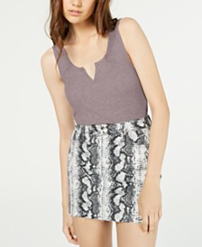 Hippie Rose Juniors' Notch-Neck Tank Top
