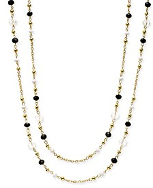 "INC Gold-Tone Multi-Bead Long Necklace, 62"" + 3"" extender, Created for Macy's"