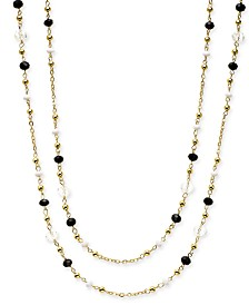 "I.N.C. Gold-Tone Multi-Bead Long Necklace, 62"" + 3"" extender, Created for Macy's"