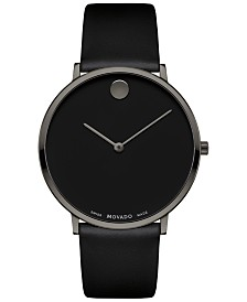 Movado Men's Swiss Ultra Slim Black Leather Strap Watch 40mm