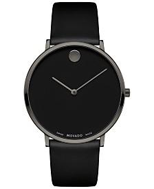 Movado Men's Swiss Ultra Slim Black Leather Strap Watch 40mm