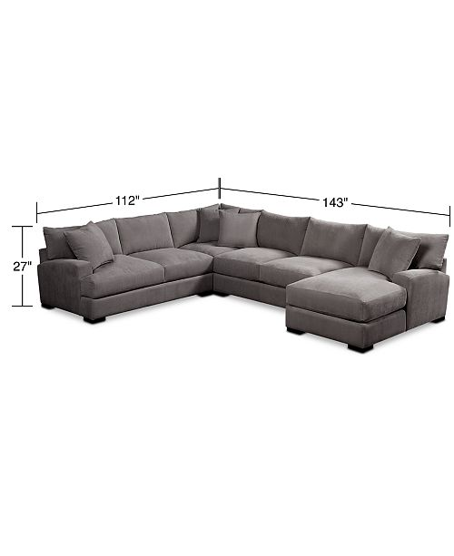 Rhyder 4-Pc. 112 Fabric Sectional Sofa with Chaise, Created for Macy\'s