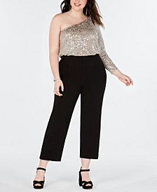 Adrianna Papell Plus Size One-Shoulder Jumpsuit