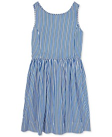 Polo Ralph Lauren Big Girls Bengal-Stripe Cotton Dress