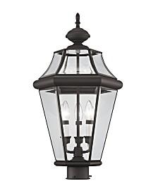 CLOSEOUT! Livex   Georgetown 3-Light Outdoor Post Lantern