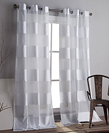 "Capri 37"" x 112"" Striped Sheer Curtain Set"