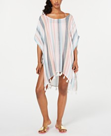 Roxy Juniors' Make Your Soul Striped Poncho Cover-Up