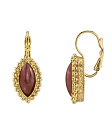 Gold Tone Diamond Shape Amethyst Color Lever back Earrings
