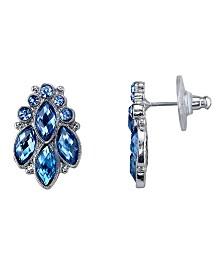 2028 Silver-Tone Blue Cluster Post Earrings