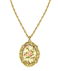 """2028 Gold Tone Ivory Color Floral Decal Pendant Necklace 24"""""""