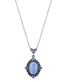 "Pewter Tone Lt. Blue Moonstone Pendant Necklace 16"" Adjustable"