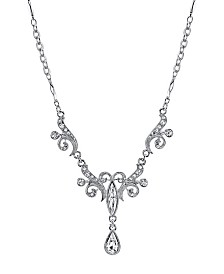 "2028 Silver-Tone Crystal Teardrop Necklace 15"" Adjustable"