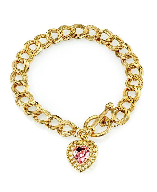 2028 14K Gold-Dipped Pink Swarovski Elements Heart Toggle Bracelet