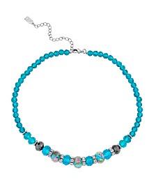 "2028 Silver Tone Aqua Pink Floral Beaded Necklace 15"" Adjustable"