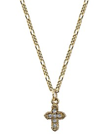 "Symbols Of Faith 14K Gold-Dipped Crystal Hope Cross Pendant Necklace 16"" Adjustable"