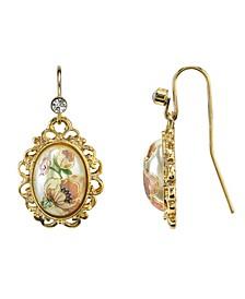 Gold-Tone Flower Decal Oval Drop Earrings