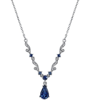 """Silver-Tone Blue Crystal French Scroll Linked Necklace 16"""" Adjustable"""