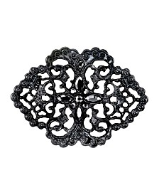 Downton Abbey Black-Tone Belle Epoch Swirl Filigree with Pave Hematite Color Stones Bar Pin