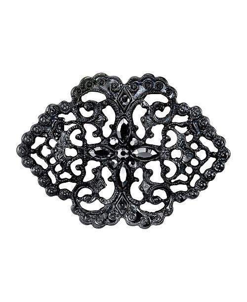298ea3b1d Black-Tone Belle Epoch Swirl Filigree with Pave Hematite Color Stones Bar  Pin
