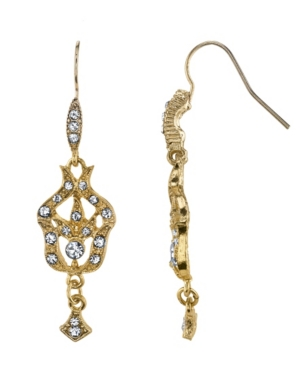 Gold-Tone Belle Epoch Pave Fleur with Crystal Accents Drop Earrings