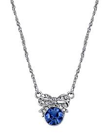 "Silver-Tone Blue Crystal Petite Edwardian Bow Necklace 16"" Adjustable"