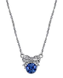 "Downton Abbey Silver-Tone Blue Crystal Petite Edwardian Bow Necklace 16"" Adjustable"