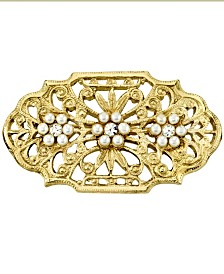 Downton Abbey Gold-Tone Edwardian Filigree Simulated Pearl and Crystal Oval Bar Pin