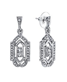 Downton Abbey Silver-Tone and Crystal Drop Earrings