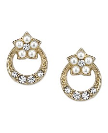 Downton Abbey Gold-Tone Simulated Pearl and Crystal Stud Earrings