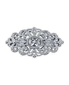 Downton Abbey Silver-Tone Crystal Hair Barrette