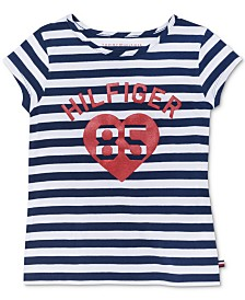Tommy Hilfiger Big Girls 85 Heart Striped Cotton T-Shirt