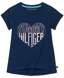 Tommy Hilfiger Big Girls Holographic Heart Cotton T-Shirt