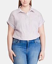 6aee08220 Lauren Ralph Lauren Plus-Size Linen Stripe-Print Dolman-Sleeve Shirt