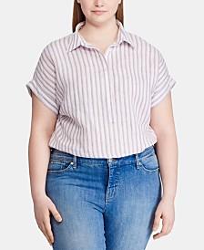 Lauren Ralph Lauren Plus-Size Linen Stripe-Print Dolman-Sleeve Shirt