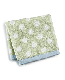 "Martha Stewart Collection 13"" x 13"" Cotton Dot Spa Fashion Wash Towel, Created for Macy's"