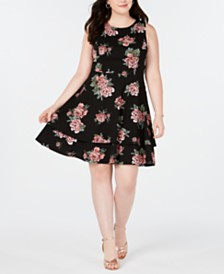 B Darlin Trendy Plus Size Bow-Back Fit & Flare Dress, Created for Macy's