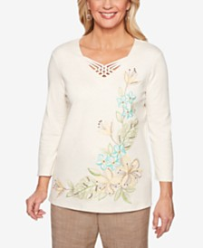Alfred Dunner Santa Fe Embroidered Lattice-Neck Top