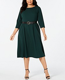 Plus Size Belted A-Line Midi Dress